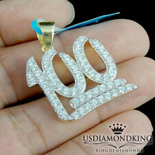 Men's Yellow Gold Over Sterling Silver 100 Logo Emoji Mini Charm Pendant 1.25""