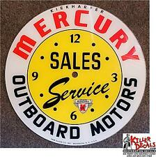"14.25"" RD MERCURY OUTBOARD MOTOR SALES SERVICE GLASS FACE PAM CLOCK GASOLINE OIL"