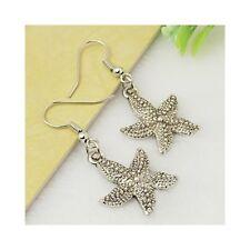 Wholesale Bulk Lot 12 Tibetan Silver Star Fish Ocean Theme Dangle Earrings NR