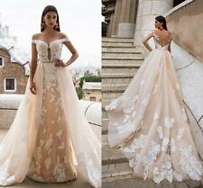 Elegant Detachable Train Appliques Wedding Dresses Sheer Back Bridal Ball Gowns