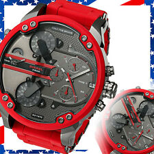 NEW Authentic Diesel Mr Daddy 2.0 Red Silicone Strap Chrono Watch 57mm /  DZ7370