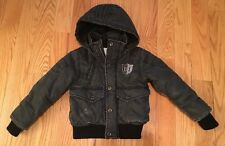 Diesel Boys Kids Bomber Jacket Coat With Detachable Hood Size 4. Black. Gorgeous