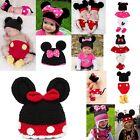 1 Set Baby Mouse Beanie Crochet Knit Hat Outfits Photo Prop Cap Jumpsuit 3-24M