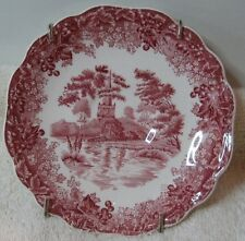 """J & G Meakin Romantic England Red Transfer 5"""" Saucer Anne Hathaway's Cottage"""