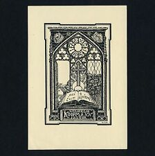 Exlibris Bookplate * DR EDUARD HANSSEN * Kirchenfenster Kreuz Aesculap Cross