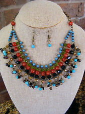 CARNELIAN TURQUOISE ONYX GREEN GLASS ANTIQUED GOLD CHAIN  NECKLACE & EARRINGS