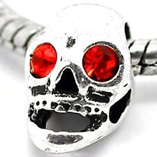 HALLOWEEN RED RHINESTONE SKULL Charms Bead For Silver Charm Bracelets m1442