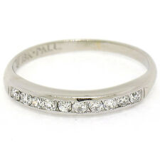 Antique 18k White Gold & Palladium .25ctw European Cut Diamond Channel Band Ring
