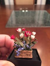 Dollhouse Miniatures Basket w/ Red, Pink Tulips w/ Blue Flowers, Signed