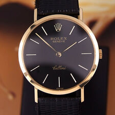 Authentic Rolex Cellini Black Dial Ref.4112 18K Gold Case Manual Mens Watch