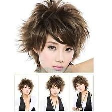 Women Fluffy Short Curly Light Brown Lady Fake Full Wig Cosplay Party Hair Dress