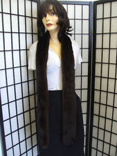 "SHOWROOM NEW CANADIAN DARK RANCH MINK FUR SCARF WRAP WOMEN WOMAN 68"" LONG W/SLIT"