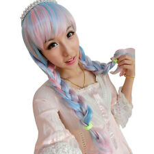 Fashion Long Wavy Full Wigs Pink Blue White Mix Women Cosplay Anime Party Wigs