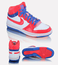 WOMENS NIKE COURT FORCE HIGH TOP LEATHER TRAINERS - UK 4 - WHITE/SOLAR RED/BLUE