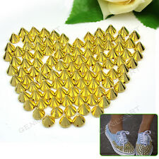DIY 100X 10mm Gold Metal Stud Rivet Spikes Leathercraft Clothes Accessories Hot