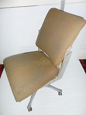 TANSAD Antique Industrial 1931 Metal Frame Office Swivel Chair + Wheels TAN SAD