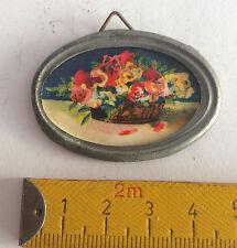 altes ovales Blumen Bild mit Metallrahmen,Zubehör,Puppenküche,Puppenstube