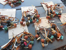 Vintage lot new old stock 7 prs leather bead 70s hippie big funky earrings AT26