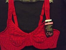 OLGA RED LACE SHEER LEAVES MINIMIZER UNDERWIRE BRA SIZE 38C NEW WITH TAGS