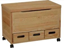 Natural Pine 3 Drawer Storage Chest On Wheels - Unfinished Pine***BRAND NEW***