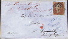 1841 1d Red KH 4m BLUE 659 RUGBY Re-Directed Weedon Daventry Cat. £750.00