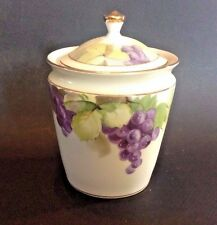 Nippon Noritake Jam Or Jelly Jar With Hand Painted Grapes Rising Sun TM