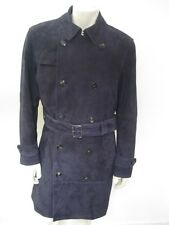 NWT Banana Republic Mens Long Navy Suede Trench Coat Size MEDIUM