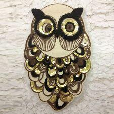 Cute Sewing Patches Owl Venise Motif Sequins Trims Applique Clothes Decoration