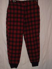 "Vintage LL BEAN WOOL HUNTING PANTS Red Plaid with Suspender Buttons 35"" x 29"" L"