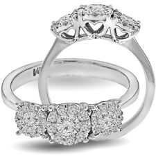 1.00Ct Diamond Halo Cluster Heart Shaped Setting Engagement Ring 14K White Gold