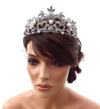 Stunning Vintage Style Bridal Crown Tiara with Crystals & Faux Pearls Prom