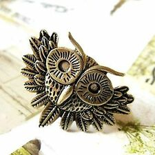 Adjustable Art Deco vintage bronze owl head charm ring