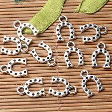Tibetan silver plated horse shoe charm pendants   80pcs  EF3555