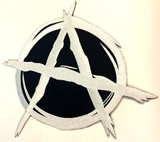 "Anarchy White 11"" Large Government Motorcycle MC Biker Back Patch HEY-0161"