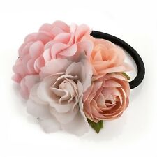 Pink Peach Tone Flower Cluster Hair Band Elastic Bobble Ponytail - Accessories