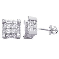 925 Sterling Silver Micro Pave Cubic Zirconia Screw back Stud Earrings 9mmx9mm