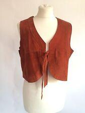 Vintage 60s 70s Orange Suede Cropped Waistcoat Size 10 12 Hippy Boho