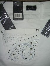 EARL JEANS Stretch White Denim Jean Shorts Crystals Womens Size 16 New $44