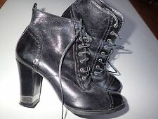 "CARVELA BLACK REAL LEATHER SMART BIKER ROCK CHICK 3"" HEEL ANKLE BOOTS 5 MINT"