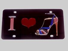 I Heart Shoes, High Heels, Monogram, initials, Cipher,Design  License Plate