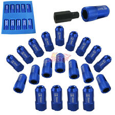 BLUE JDM ALUMINUM RACING LUG NUTS D1 SPEC M12X1.5MM WITH KEY FOR HONDA TOYOTA