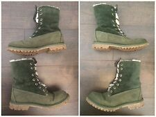 Timberland : Olive Green Suede Leather Faux Fur Lining Lace Up Boots : UK 6
