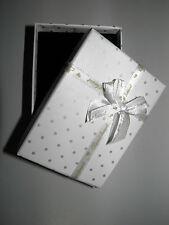 Geschenkkarton Grau Weiß Punkte Schleifen Geschenkbox Schmuck Etui Schachtel Neu