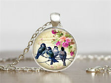 Vintage Birds Cabochon Tibetan silver Glass Chain Pendant Necklace XC65