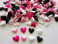 200 Chic Hot Pink & Black Satin/Felt Applique Mix/Padded/Baby/Trim H558-Heart