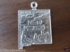 Vintage silver NEW MEXICO STATE MAP SANTA FE w/ COWBOY HORSE charm FORT CO.