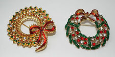 Lot of 2 rhinestone enamel Christmas WREATH pins BROOCHES brooch costume jewelry