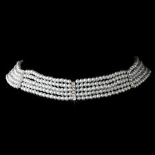 Bridal Silver White Pearl 5 row Choker w/ hook clasp Wedding Bridesmaid Jewelry