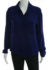 CHELSEA FLOWER Indigo Silk Long Sleeve Collared Blouse Top Sz M