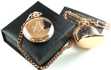 MASONIC 18ct ROSE GOLD Clad Full Hunter  FREEMASON POCKET WATCH Luxury Gift Case